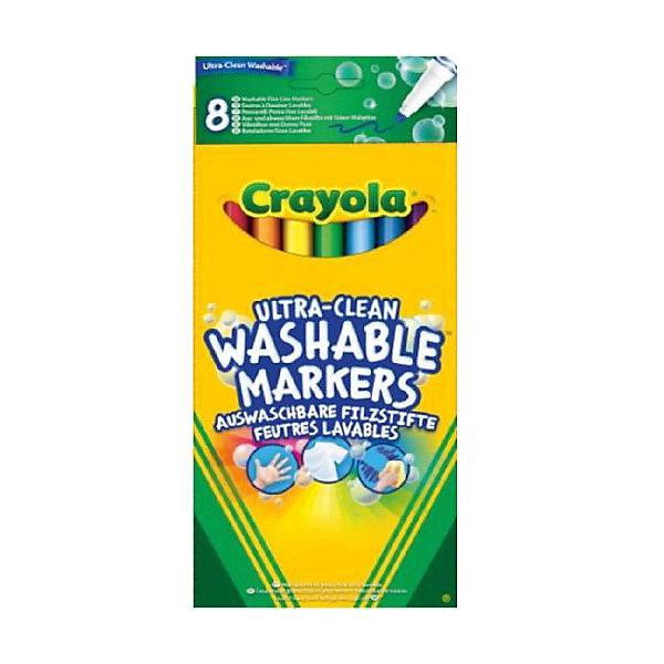 Фото - Crayola 8 тонких смываемых фломастеров Супер чисто фломастеры 12 цветов crayola смываемые супер чисто в картонной упаковке