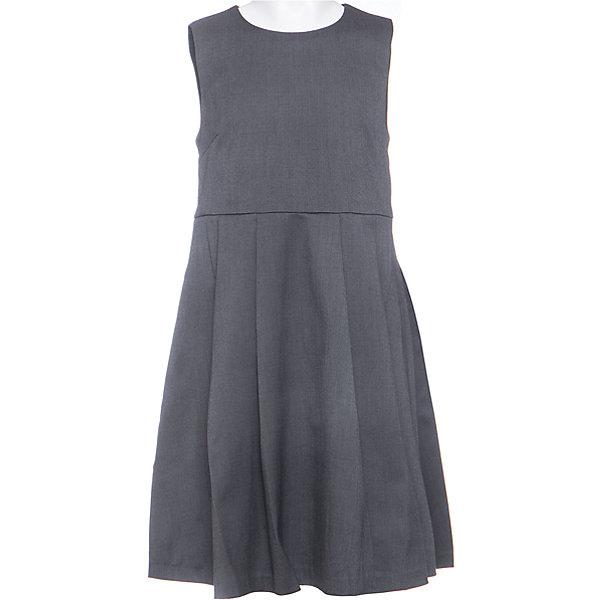 Сарафан для девочки Button BlueПлатья и сарафаны<br>Сарафан для девочки от известного бренда Button Blue<br>Текстильный темный сарафан трапециевидного силуэта - удобное практичное решение для каждого школьного дня. Сарафан имеет отрезную линию талии и крупные  складки на юбке. С любой блузкой, поло, водолазкой, сарафан будет смотреться строго и элегантно.<br>Состав:<br>80% полиэстер, 20% вискоза,               подкл.:  100%полиэстер<br>Ширина мм: 236; Глубина мм: 16; Высота мм: 184; Вес г: 177; Цвет: серый; Возраст от месяцев: 120; Возраст до месяцев: 132; Пол: Женский; Возраст: Детский; Размер: 146,122,134,140,152,158,128; SKU: 4719154;