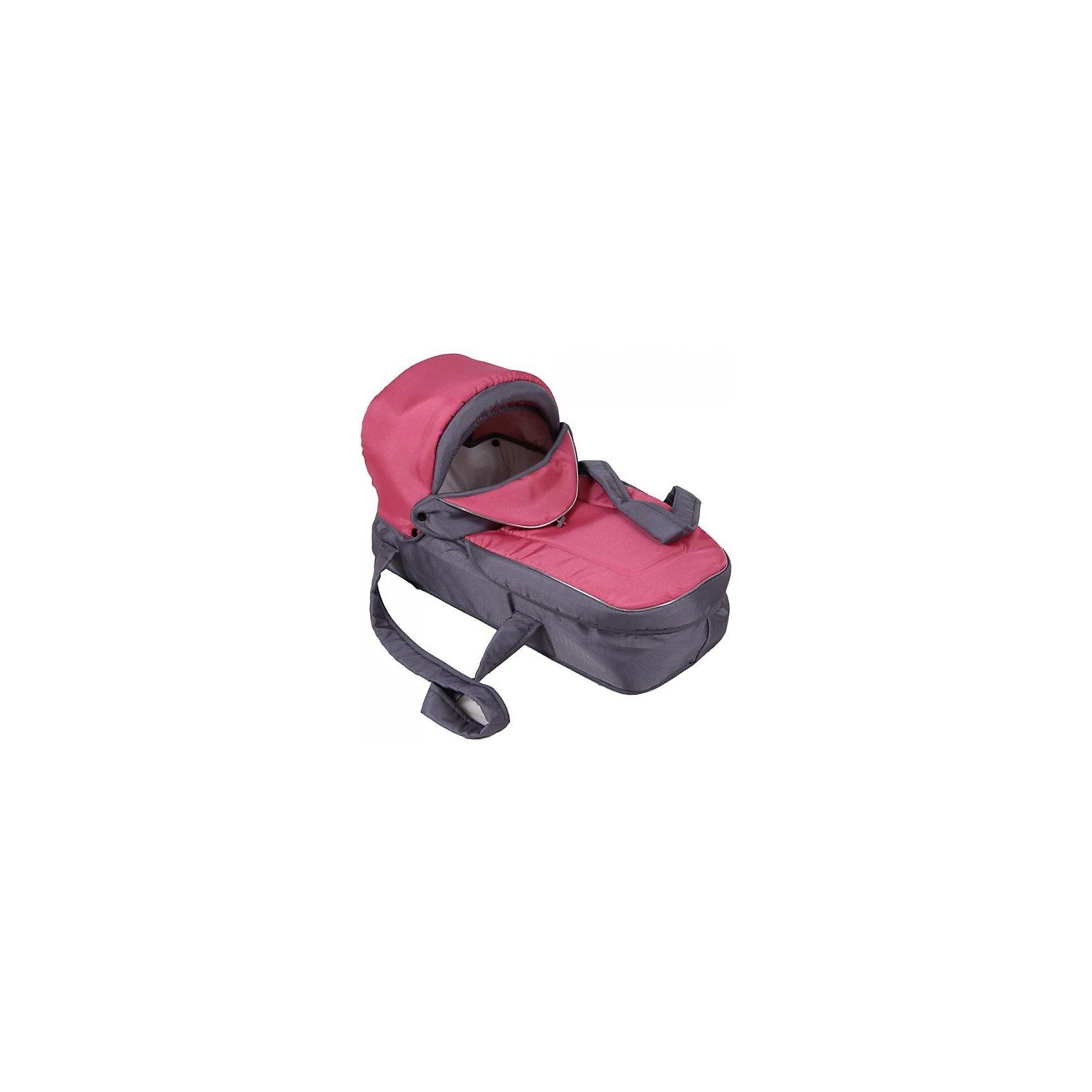 Люлька-переноска для коляски ВЕНЕЦИЯ 202, Лео, серый/розовый (ЛЕО)