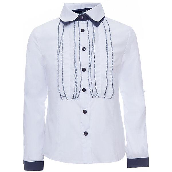 Блуза для девочки Дана SkylakeБлузки и рубашки<br>Блуза для девочки Дана от известного бренда Skylake<br>Комбинированная блузка для девочек младшего и среднего<br>школьного возраста.<br>Изготовлена из блузочной смесовой хлопковой ткани  белого<br>и синего цвета.<br>Полочки и спинка с талиевыми вытачками.<br>Застежка на узкую настрочную планку с пуговицами.<br>Полочки  украшены вертикальными декоративными рюшами.<br>Воротник двойной на отрезной стойке.<br>Нижний воротник контрастного цвета.<br>Рукава втачные длинные, на манжетах из ткани - компаньона.<br><br>Состав:<br>65%полиэстер,35% хлопок<br>Ширина мм: 186; Глубина мм: 87; Высота мм: 198; Вес г: 197; Цвет: синий/белый; Возраст от месяцев: 132; Возраст до месяцев: 144; Пол: Женский; Возраст: Детский; Размер: 152,128,158,146,140,134; SKU: 4723325;