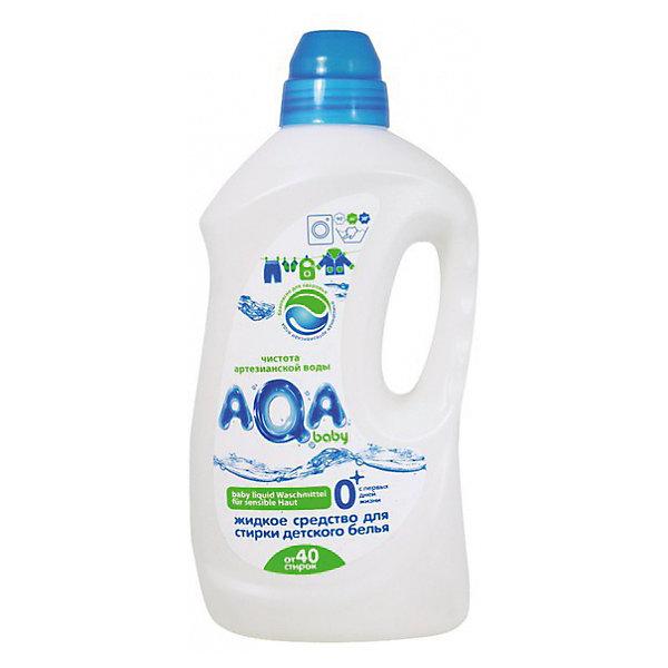 Жидкое средство для стирки детского белья AQA baby, 1500 млДетская бытовая химия<br>Разработано специально для детского белья - с первых дней жизни<br>Содержит энзимы – высокоэффективные натуральные компоненты, усиливающие отстирывающую способность средства и удаляющие как заметные, так и невидимые загрязнения<br>Не содержит фосфатов, хлора, «плохих» консервантов и красителей и других химических агрессивных компонентов<br>Сбалансированный рН продукта – не снижает отстирывающую способность, но и не портит кожу рук<br>Быстро и без остатков вымывается в процессе полоскания<br>Для всех типов стиральных машин и ручной стирки при температуре от 30C° до 90C°<br>Колпачок с двойным дном выполняет роль мерного стаканчика и сохраняет упаковку гигиеничной. <br>Объем: 1,5 литра