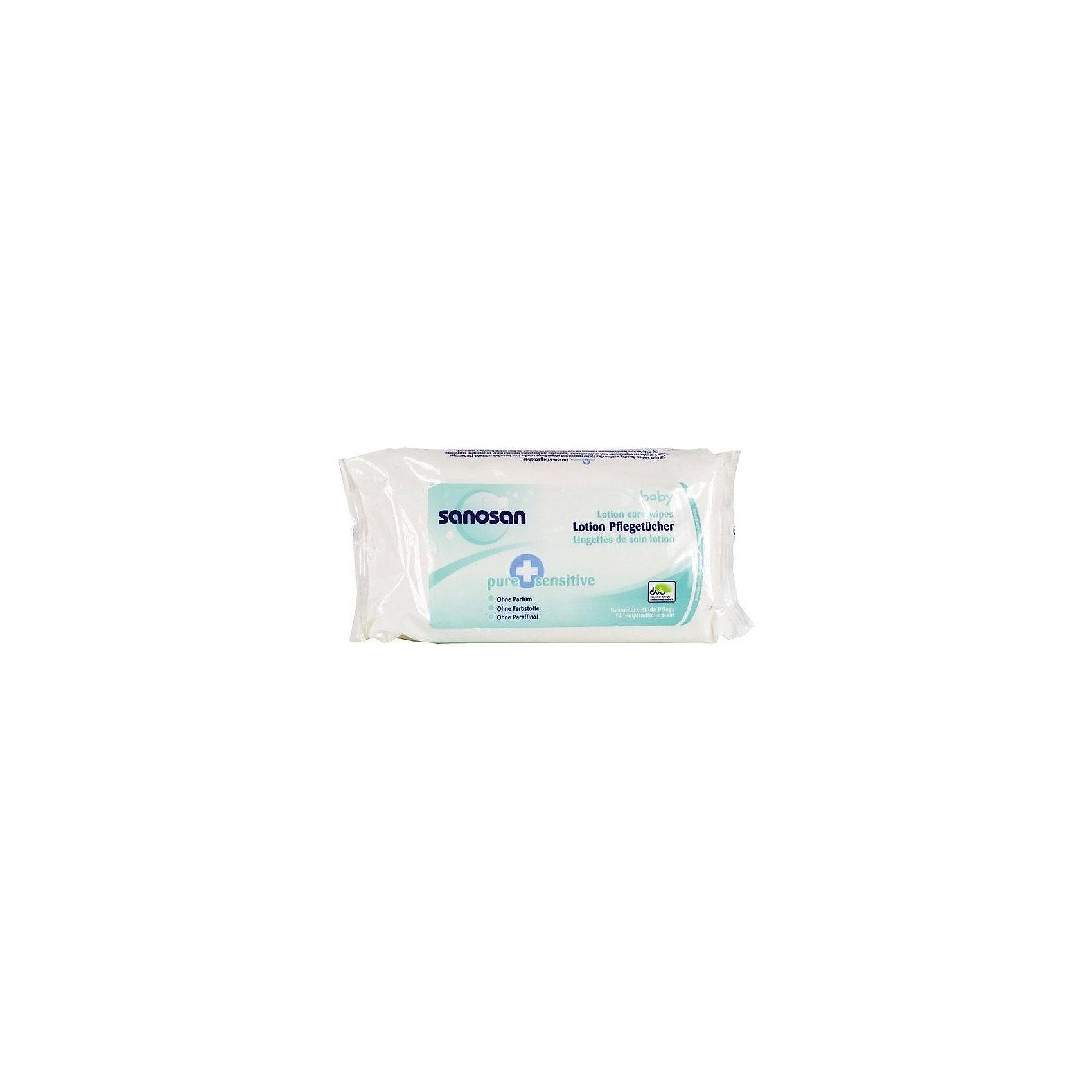 Влажные салфетки для чувствительной кожи Pure+Sensitive, Sanosan, 64 шт