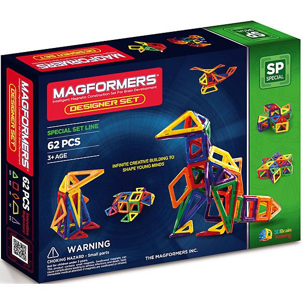 Магнитный конструктор Дизайнер сет, MAGFORMERSМагнитные конструкторы<br>Набор Magformers Designer Set из 62-х элементов предназначен для развития эрудиции детей. Такие мини-конструкторы подходят для мальчиков и девочек, так как ребёнок сможет построить много разных транспортных средств - самолёты или краны, экскаваторы, либо же отличный дом или замок. <br>Данный набор представляет собой прекрасную игрушку, которая позволяет ребёнку развивать воображение, способности к геометрии, пространственному мышлению. <br>Хотя такие наборы больше подходят для детей старшего возраста, многие малыши проявляют особенный интерес к подобного рода игре. Из базовых фигурок можно построить множество различных предметов. Таким образом, ребёнок сможет воплотить свои фантазии в реальность. Со временем вы заметите, что создаваемые вашим ребёнком фигуры, становятся всё более объёмными и сложными. <br>.<br>Такой конструктор понравится каждому ребенку. К тому же яркая упаковка помогает ему стать идеальным подарком!<br><br>Дополнительная информация:<br><br>- Количество деталей: 62 шт. <br>- Треугольники: 20 шт. <br>- Квадраты: 22 шт. <br>- Ромбы: 4 шт. <br>- Трапеции: 2 шт. <br>- Равнобедренные треугольники: 14 шт. <br>- Возраст: от 3 лет  <br>- Материал: прочный пластик <br>- Размер упаковки: 37x28x6,5 см <br>- Вес в упаковке: 0,91 кг.<br><br>Купить магнитный конструктор Дизайнер сет MAGFORMERS можно в нашем магазине.<br>Ширина мм: 365; Глубина мм: 280; Высота мм: 60; Вес г: 1275; Возраст от месяцев: 36; Возраст до месяцев: 192; Пол: Унисекс; Возраст: Детский; SKU: 4730840;