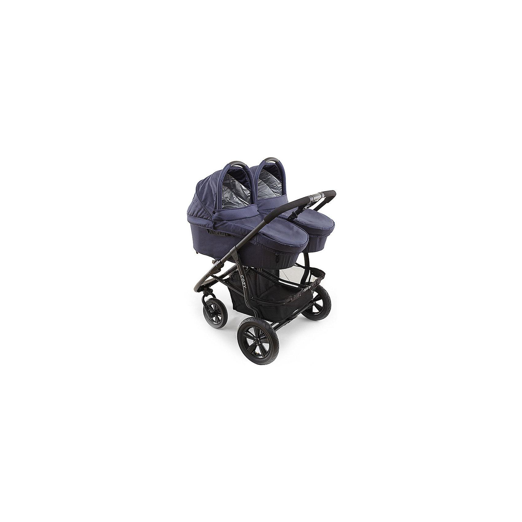 Прогулочная коляска для двойни DOU, Cozy, темно-синий (COZY)