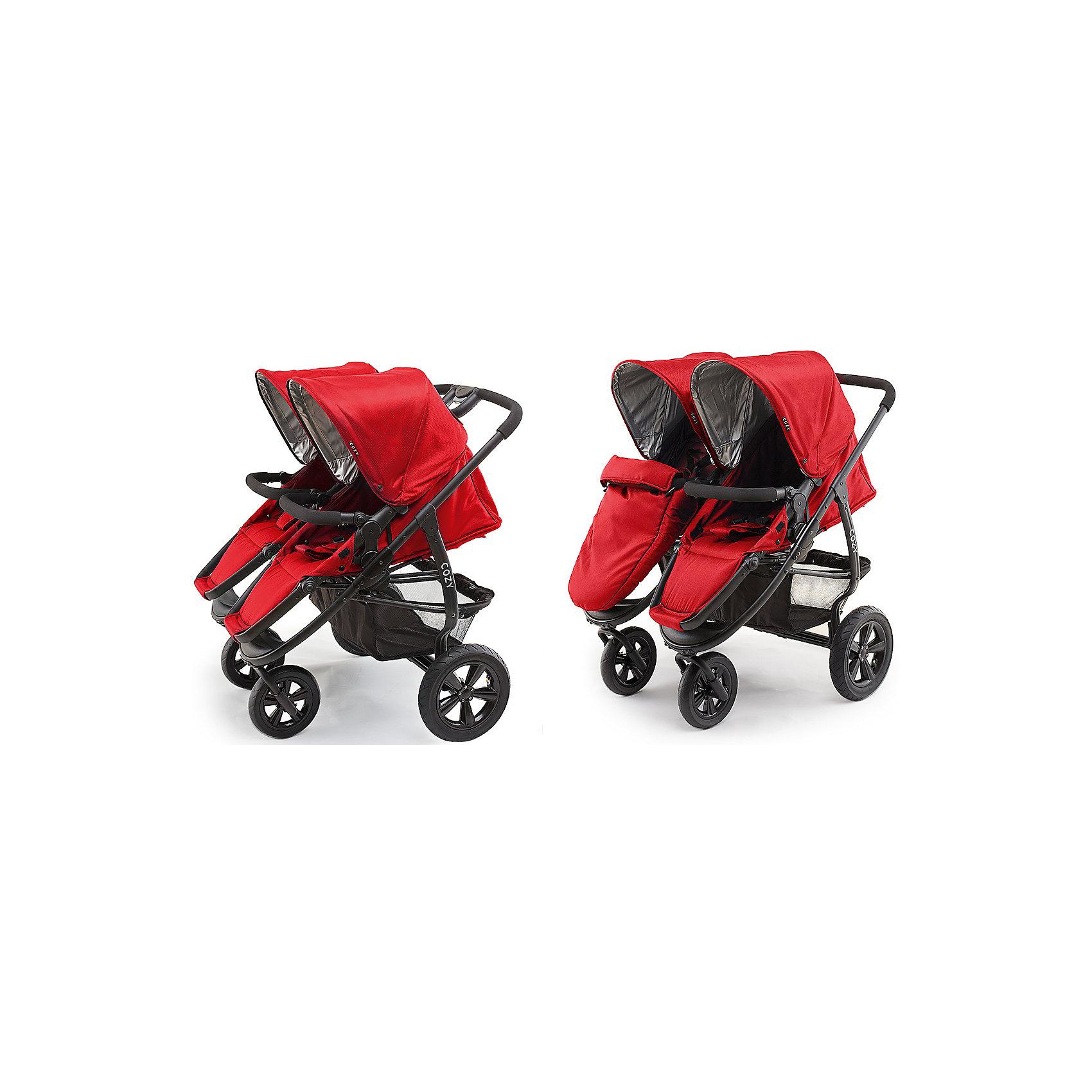 Прогулочная коляска для двойни Cozy DOU, красный