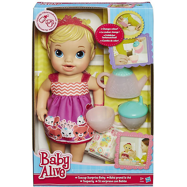 Кукла Гостеприимная малютка, BABY ALIVEКуклы-пупсы<br>Кукла Гостеприимная малютка, 35см, BABY ALIVE станет отличным подарком для каждой маленькой девочки. <br>Кукла выглядит как настоящий ребенок. Малютка одета в легкое платьице, а голову украшает розовая тиара. Кукла умеет пить: ее можно поить из поильника или из чашечки, главное - не забыть потом поменять ей подгузник. <br><br><br>Дополнительная информация:<br><br>- В комплект входит: кукла, чайник, чашечка, поильник и подгузник. <br>- Высота куклы: 33 см.<br>- Размер упаковки: 37 x 23 x 10 <br>- Материал: пластмасса, текстиль.<br><br>Куклу Гостеприимная малютка, 35см, BABY ALIVE можно купить в нашем интернет-магазине.<br>Ширина мм: 102; Глубина мм: 229; Высота мм: 356; Вес г: 730; Возраст от месяцев: 36; Возраст до месяцев: 120; Пол: Женский; Возраст: Детский; SKU: 4743041;