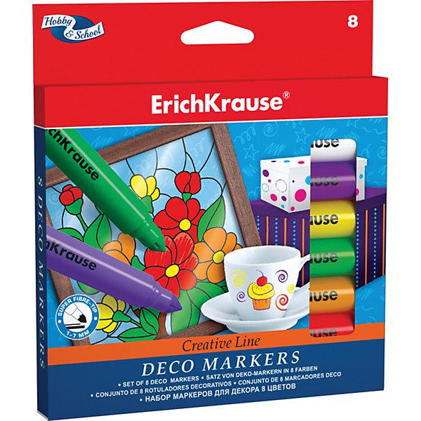 Фломастеры для декора, 8 цв., Erich KrauseФломастеры<br>Фломастеры для декора, 8 цв., Erich Krause (Эрих Краузе) - это настоящая находка для юного художника.<br>Фломастеры для декора от немецкой компании Erich Krause (Эрих Краузе) идеально подходят как для декорирования различных поверхностей, так и для рисования и раскрашивания, благодаря своей яркой и сочной палитре. В набор входит 8 разноцветных фломастеров с вентилируемыми колпачками. Товар соответствует европейским стандартам качества.<br><br>Дополнительная информация:<br><br>- Количество: 8 шт.<br>- Упаковка: картонная коробка с европодвесом<br>- Размер упаковки: 1,5 ? 14 ? 15,5 см.<br><br>Фломастеры для декора, 8 цв., Erich Krause (Эрих Краузе) можно купить в нашем интернет-магазине.<br>Ширина мм: 140; Глубина мм: 15; Высота мм: 155; Вес г: 120; Возраст от месяцев: 36; Возраст до месяцев: 204; Пол: Унисекс; Возраст: Детский; SKU: 4744510;