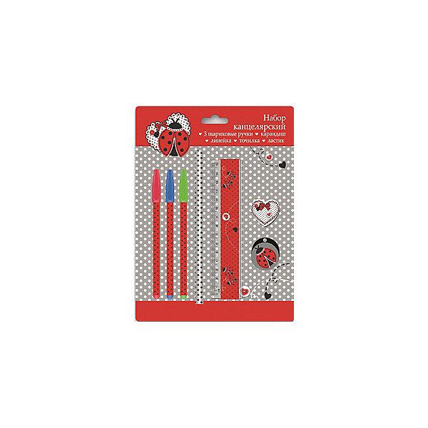 Канцелярский набор Божья коровка Феникс+Канцелярские наборы<br>Канцелярский набор в блистере  БОЖЬЯ КОРОВКА (3 ручки шарик. (красная, зеленая, синяя), 1 ластик диаметром 35мм, 1 точилка для карандашей диаметром 35мм, 1 пластиковая линейка длиной 150 мм, 1 круглый заточенный чернографитный карандаш в древесной оболочке твердости HB)<br>Ширина мм: 245; Глубина мм: 180; Высота мм: 20; Вес г: 75; Возраст от месяцев: 72; Возраст до месяцев: 144; Пол: Унисекс; Возраст: Детский; SKU: 4746259;