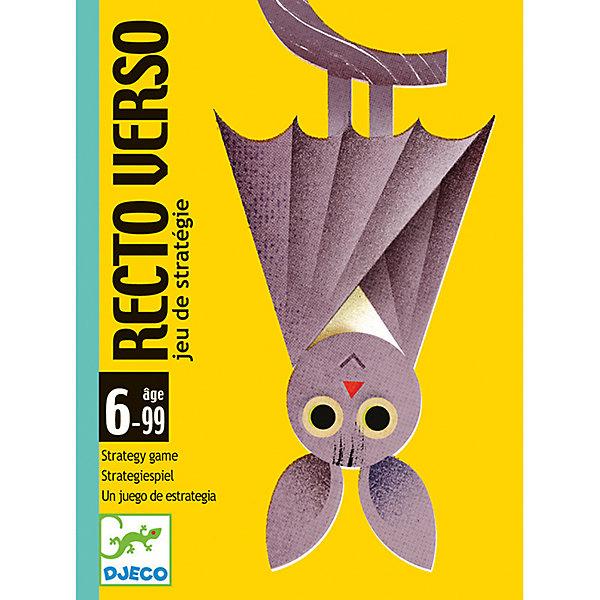 Карточная игра Ректо Версо, DJECOНастольные игры для всей семьи<br>Детская карточная игра Шляпа волшебника от французского производителя Djeco - увлекательная игры для детей и взрослых на скорость и сообразительность. <br><br>Правила игры Шляпа волшебника: <br><br>Целью игры является запомнить карточки. <br><br>Игрокам раздаётся по 3 карточки, которые они просматривают и кладут лицевой стороной вниз. Затем каждый игрок по очереди должен назвать цвет карточки, лежащей сверху. Если цвет назван правильно, игрок имеет право забрать карточку себе. Если же нет, то он кладет ее в общую колоду. Запас карт у игроков постоянно пополняется - они берутся из общей колоды и кладутся в низ стопки. <br><br>На некоторых картах содержится изображение шляпы волшебника: если игроку попадается такая карта, то все участники должны стукнуть ладонью по центру стола. Тот, кто сделал это последним, в качестве штрафа отдает одну из выигранных карточек. То же происходит, если кто-то ударил ладонью по столу по ошибке (на карте не было изображения шляпы волшебника). Также, для усложнения игры, на картах изображены различные значки: увидев их, участники должны совершить определенные действия, например, взять еще одну карточку из общей колоды, поменяться своими карточками с игроком слева и так далее. <br><br>Игра заканчивается, когда заканчиваются карточки в общей колоде. Победителем считается набравший больше всего карточек. <br><br>Изображения на карточках очень красочные и необычные. Малышам обязательно понравится не только играть с ними, но и рассматривать красивые картинки. <br><br>Игра продается в красочной яркой коробке, в которой можно хранить карточки. Игру удобно брать с собой в поездку или в гости. <br><br>Игра Шляпа волшебника прекрасно развивает быстроту реакции и наблюдательность ребенка, она станет прекрасным развлечением во время семейных вечером, а также подойдет для любого детского праздника. <br><br>Количество игроков: 2-4 человека.<br>Рекомендована для детей от 6 лет.<br>Ориент