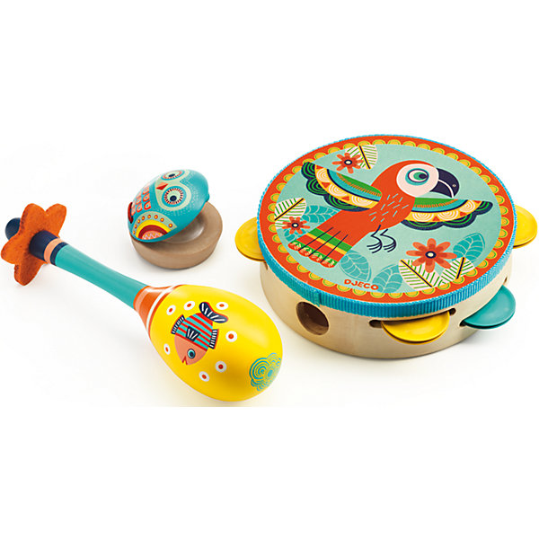 Набор музыкальных инструментов, DJECOДетские музыкальные инструменты<br>Набор музыкальных инструментов от французского производителя Djeco – великолепный набор, состоящий из маракаса, кастаньет и бубна, с помощью которого ребенок будет развивать свои творческие и музыкальные способности. <br><br>Все инструменты в наборе очень яркие и красочные. На их корпусе изображены забавные животные, а также различные орнаменты и узоры. На этих инструментах можно играть как в одиночку, так и в компании, создав свой собственный импровизированный мини-оркестр! <br><br>Игра на детских музыкальных инструментах прекрасно развивает музыкальный слух, творческие способности малыша, координацию движений и детскую моторику.<br>Ширина мм: 310; Глубина мм: 170; Высота мм: 60; Вес г: 600; Возраст от месяцев: 36; Возраст до месяцев: 1188; Пол: Унисекс; Возраст: Детский; SKU: 4761456;