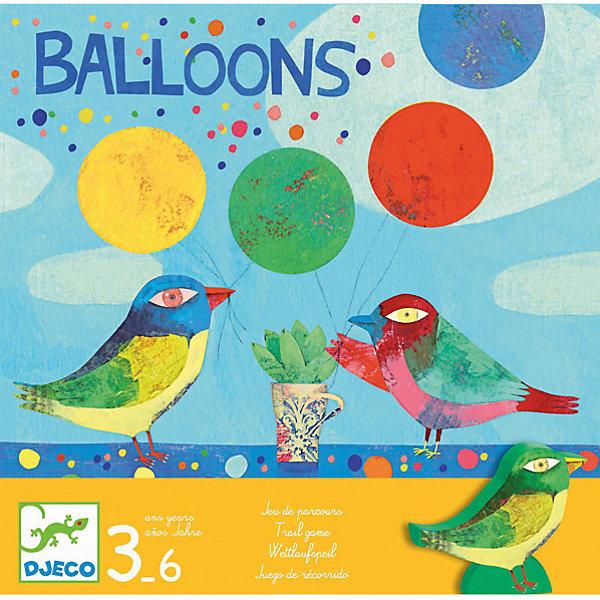 Настольная игра Воздушные шары, DJECOИзучаем цвета и формы<br>Настольная игра Воздушные шары от известного французского производителя Djeco – веселая игра для детей возрастом от 3 до 6 лет! <br><br>Птички отправились на поиски воздушных шариков, которые уплыли далеко в небо. Кто из них первым вернет 4 шарика? Первая настольная вашего малыша от Djeco запомнится ему благодаря уникальному дизайну и простым, но одновременно увлекательным правилам! <br><br>Игра развивает логическое мышление детей, воображение, внимание. <br><br>Количество игроков: 3-6 человек. <br>Примерное время игры: 5 минут.<br>Ширина мм: 220; Глубина мм: 220; Высота мм: 60; Вес г: 560; Возраст от месяцев: 36; Возраст до месяцев: 1188; Пол: Унисекс; Возраст: Детский; SKU: 4761470;