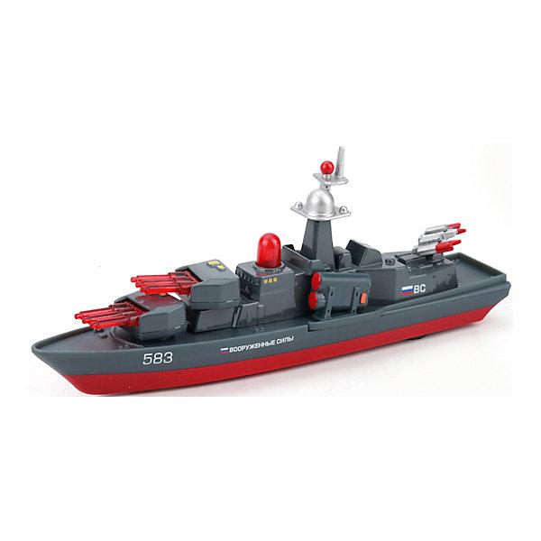 Корабль, металл. инерц., свет+звук, ТЕХНОПАРККорабли и лодки<br>Характеристики:<br><br>• тип игрушки: корабль;<br>• возраст: от 3 лет;<br>• размер: 5х15х24 см;<br>• тип батареек: 3хLR 41;<br>• масштаб: 1:32;<br>• наличие батареек: входят в комплект;<br>• материал: металл, пластик;<br>• бренд: Технопарк;<br>• страна производителя: Китай.<br><br>Технопарк «Корабль»  - мини-копия настоящего. Красно-серая расцветка сближает сооружение с военным. Все детали корабля проработаны до идеала. Данная модель является коллекционной, она - отличный вариант для подарка тому, кто неравнодушен к военной технике. Если нажать на кнопку корабля, он начнет демонстрировать световые и звуковые эффекты, словно настоящий. Игрушка имеет инерционный механизм движения: если ее толкнуть вперед, она преодолеет солидное расстояние<br>Тематические игры с интересными сюжетами разбудят воображение ребёнка, а манипуляции с игрушкой потренируют мелкую моторику пальцев рук. Масштабные модели от компании «Технопарк» отличаются качественными ударопрочными материалами, продлевающими долговечность изделия тщательным исполнением со вниманием ко всем деталям, и имеют требуемые сертификаты соответствия для детских игрушек.<br>Технопарк «Корабль» можно купить в нашем интернет-магазине.<br>Ширина мм: 240; Глубина мм: 150; Высота мм: 50; Вес г: 200; Возраст от месяцев: 36; Возраст до месяцев: 120; Пол: Мужской; Возраст: Детский; SKU: 4763398;