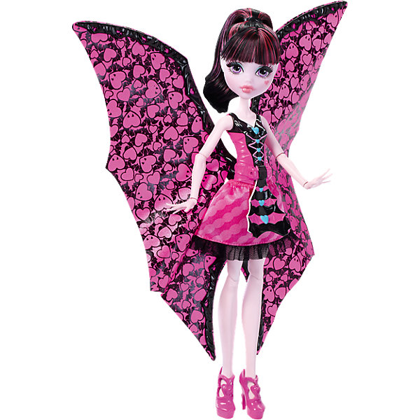 Дракулаура в трансформирующемся наряде, Monster HighКуклы модели<br>Дракулаура в трансформирующемся наряде, Monster High, Mattel (Маттел) ? кукла, выполненная в образе одной из главных героинь знаменитого фильма Школы моннстров. Кукла выполнена из экологичного и безопасного пластика, волосы изготовлены из нейлона. Дракулаура ? шарнирная кукла, поэтому ей можно придать абсолютно любую позу<br>Дракулаура на этот раз предстает в наряде, который позволяет ей быстро и легко превращаться в летучую мышь. Для этого достаточно потянуть на рычажок, который расположен на корсете ее наряда и пышная верхняя юбка превратится в крылья. Наряд Дракулауры выполнен в ее самом любимом цвете ? розовом, на ногах ? розовые туфельки.<br>Дракулаура в трансформирующемся наряде, Monster High, Mattel (Маттел) ? идеальный подарок для поклонников данной серии.<br>Обратите внимание, что самостоятельно кукла стоять не может, для этого ей требуется подставка (в комплект не входит).<br><br>Дополнительная информация:<br><br>- Вид игр: сюжетно-ролевые <br>- Предназначение: для дома<br>- Серия: Monster High<br>- Материал: пластик, текстиль<br>- Размер (Д*Ш*В): 7*33*21 см<br>- Вес: 260 г <br><br>Подробнее:<br><br>• Для детей в возрасте: от 6 лет и до 12 лет<br>• Страна производитель: Китай<br>• Торговый бренд: Mattel<br><br>Дракулауру в трансформирующемся наряде, Monster High, Mattel (Маттел) можно купить в нашем интернет-магазине.<br>Ширина мм: 327; Глубина мм: 213; Высота мм: 66; Вес г: 232; Возраст от месяцев: 72; Возраст до месяцев: 120; Пол: Женский; Возраст: Детский; SKU: 4765349;