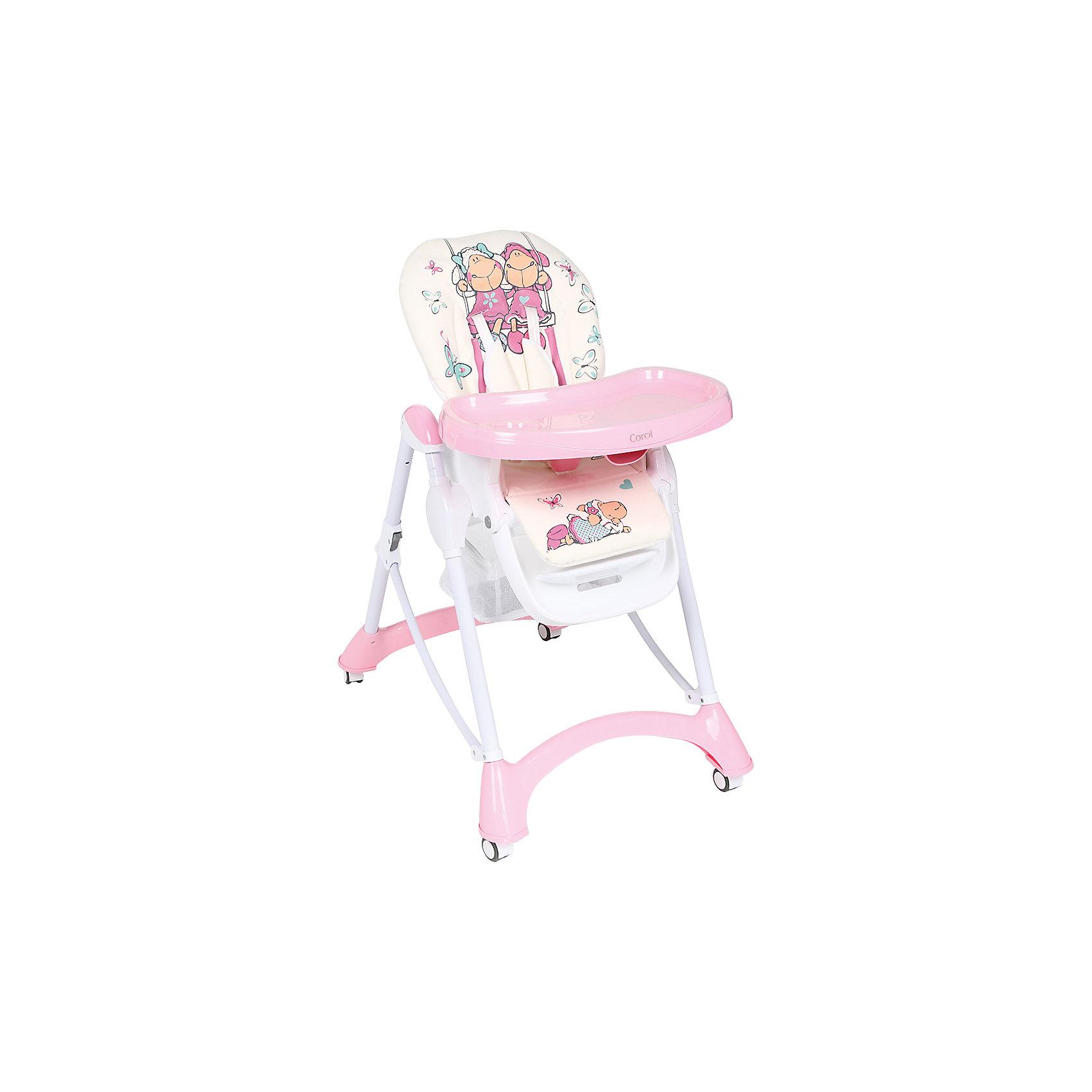 Стульчик для кормления, Corol, розовый/белый ОВЕЧКИ