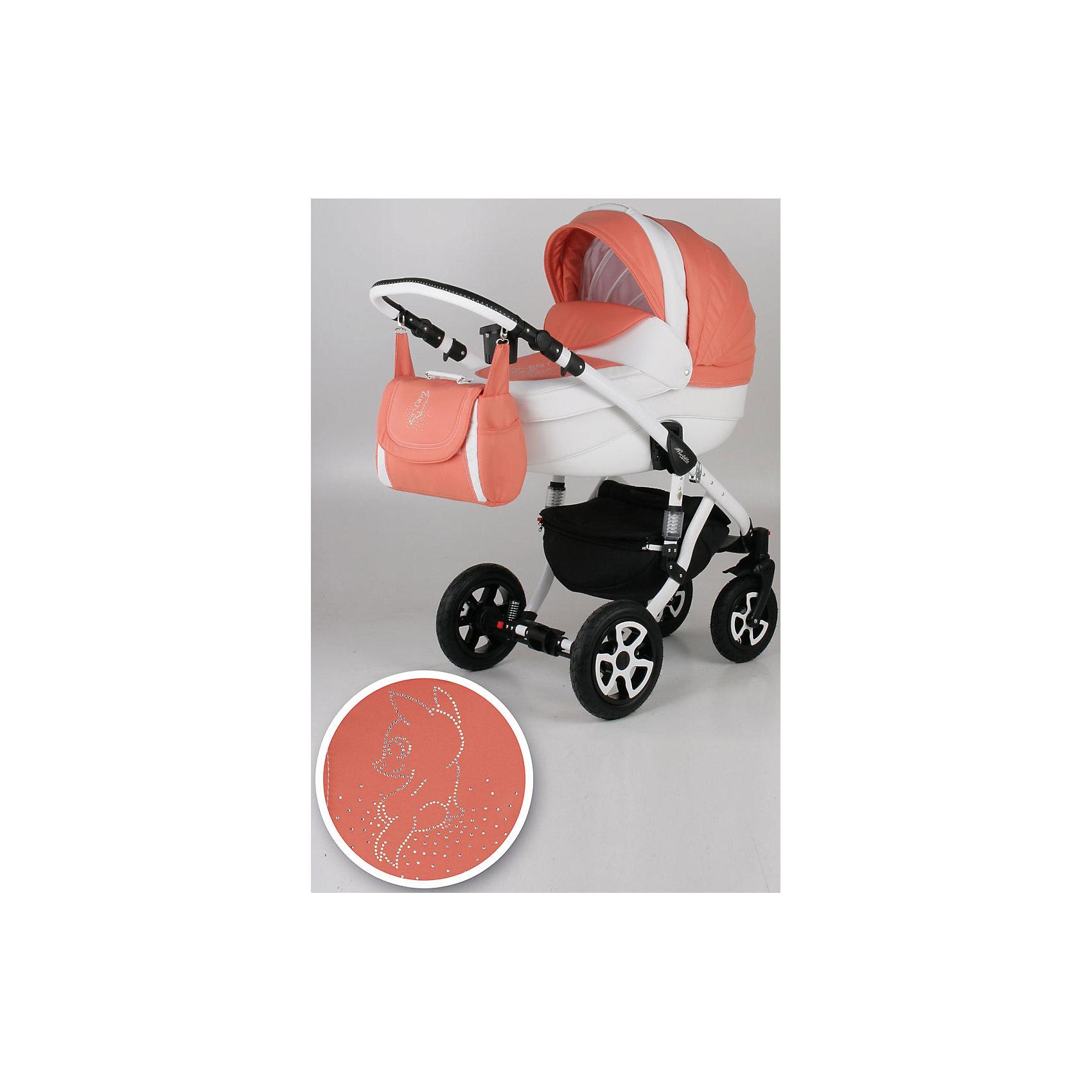 Коляска 2 в 1 Barletta, Adamex, Лисёнок белый/оранжевый