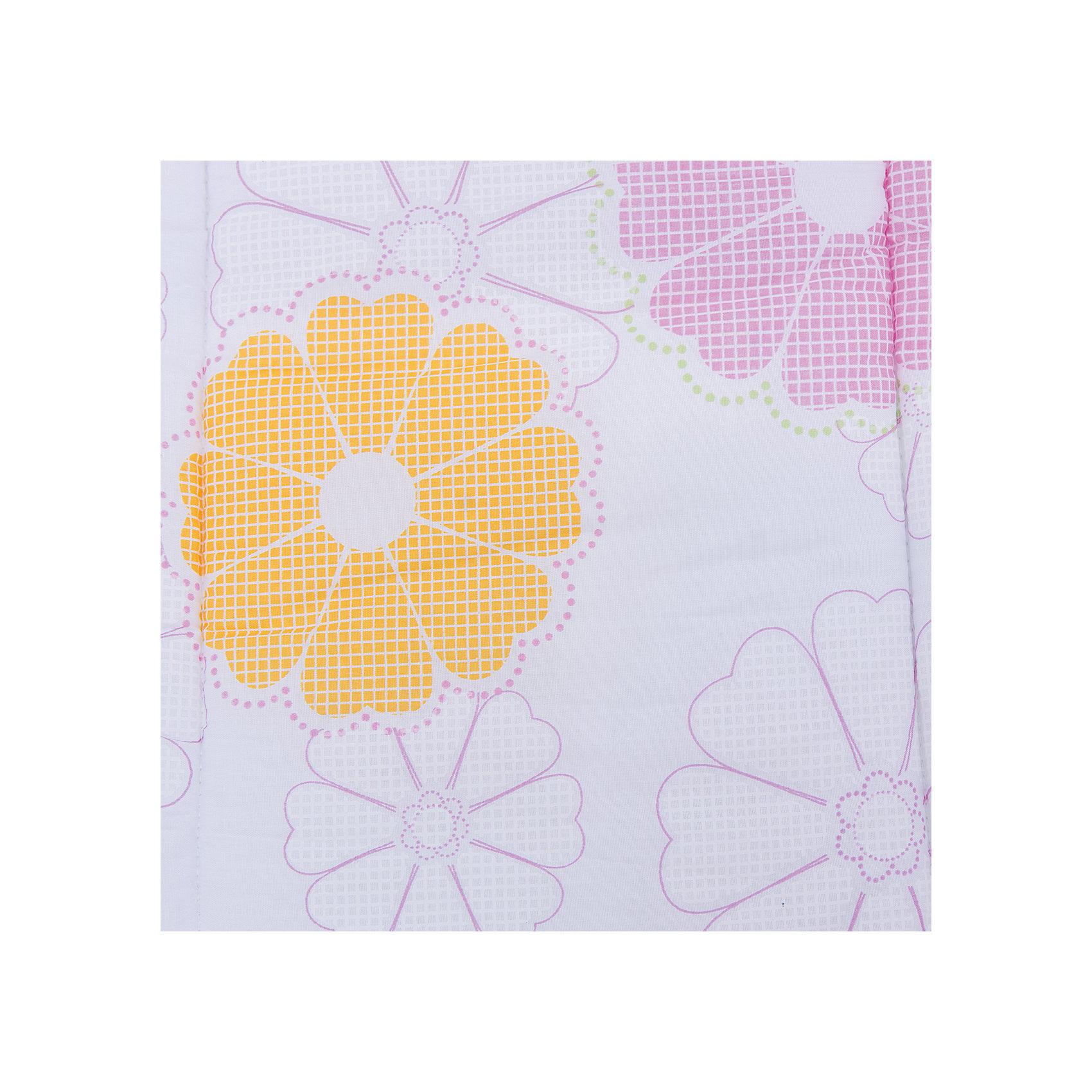 Комплект в коляску 2 пред., матрасик+подушка, Цветы-пэчворк, Leader kids, белый