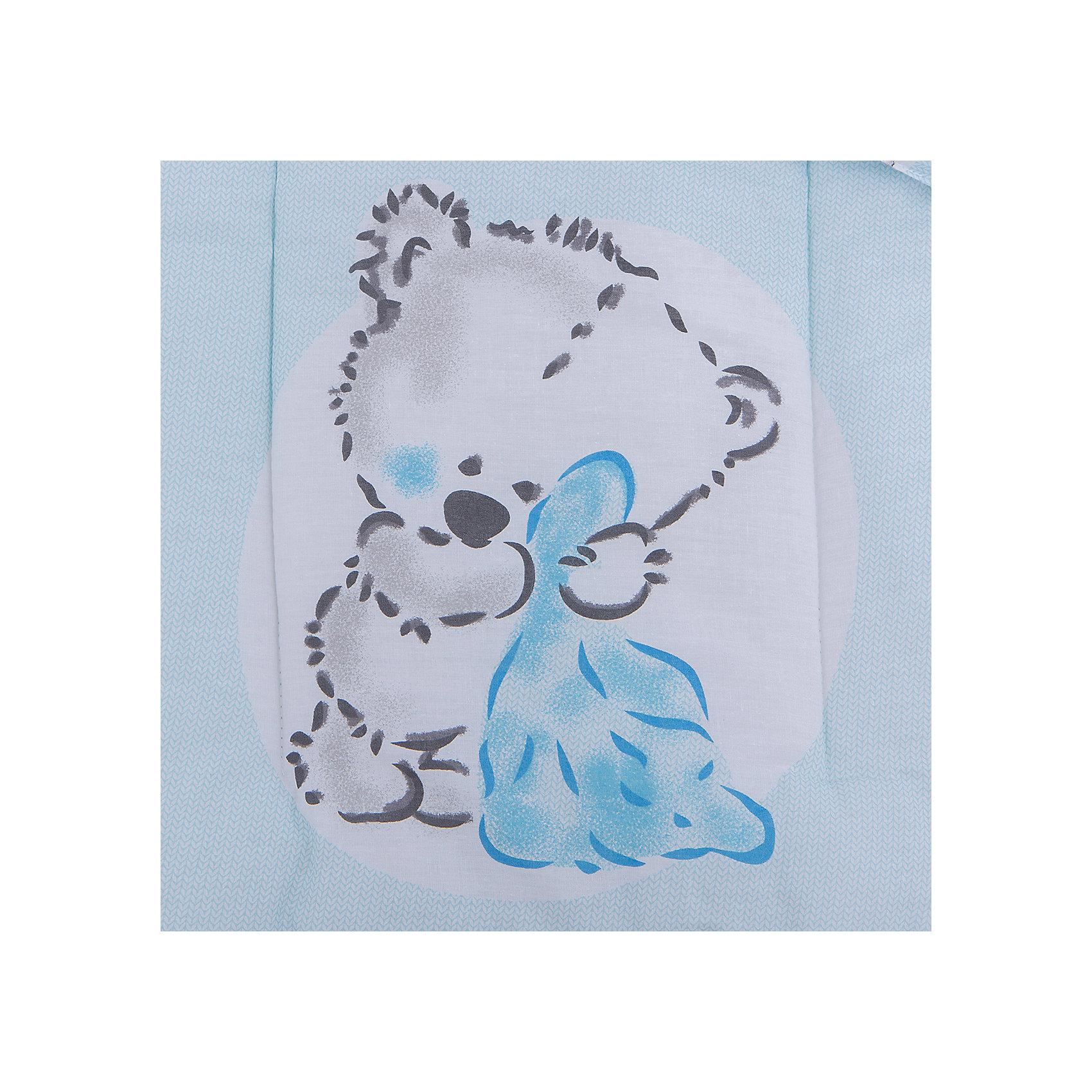 Комплект в коляску 2 пред., матрасик+подушка, Мишка с пледом, Leader kids, голубой