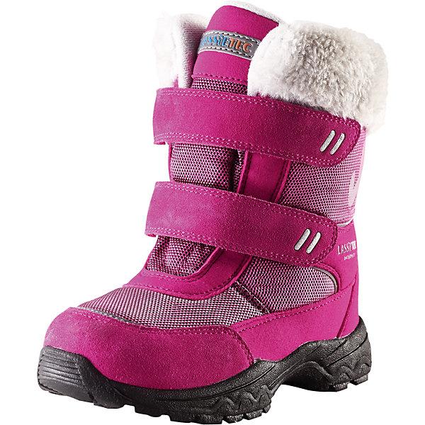 Ботинки для девочки LassieОбувь<br>Зимние сапоги для детей Lassietec®. <br><br>- Водонепроницаемая зимняя обувь.<br>- Верх из натуральной замши (из телячьей кожи), синтетического материала и текстиля.<br>- Подошва из термопластичного каучука обеспечивает хорошее сцепление с поверхностью. <br>- Подкладка из искусственного меха.<br>- Съемные стельки. Застежки на липучках обеспечивают простоту использования.<br>- Светоотражающие детали. <br><br>Храните обувь в вертикальном положении при комнатной температуре. Сушить обувь всегда следует при комнатной температуре: вынув съемные стельки. Стельки следует время от времени заменять на новые. Налипшую грязь можно счищать щеткой или влажной тряпкой. Перед использованием обувь рекомендуется обрабатывать специальными защитными средствами.<br><br>Состав: Подошва: Термопластиковая резина, Верх: 70% ПЭ 20% ПУ 10% Кожа.<br>Ширина мм: 257; Глубина мм: 180; Высота мм: 130; Вес г: 420; Цвет: розовый; Возраст от месяцев: 120; Возраст до месяцев: 132; Пол: Женский; Возраст: Детский; Размер: 34,24,35,33,32,31,30,29,28,27,26,25; SKU: 4780814;