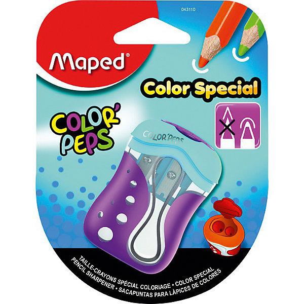 Точилка Color pepsЛастики и точилки<br>Точилка Color peps, Maped (Мапед)<br><br>Характеристики:<br><br>• 2 отверстия для карандашей разных размеров<br>• оставляет закругленный грифель карандашей<br>• есть контейнер для мусора<br>• привлекательный дизайн<br>• материал: пластик, металл<br>• размер упаковки: 9,5х3,4х12,5 см<br><br>Точилка Color Peps порадует вас своей функциональностью. Она способна заточить карандаши и даже мелки разных размеров. Оба отверстия со стальными лезвиями можно закрыть крышкой после использования. Точилка оставляет кончик грифеля закругленным, благодаря чему ребенок не сможет пораниться в процессе рисования. Вместительный контейнер для мусора не даст стружке упасть и обеспечит чистоту.<br><br>Точилку Color peps, Maped (Мапед) вы можете купить в нашем интернет-магазине.<br>Ширина мм: 125; Глубина мм: 34; Высота мм: 95; Вес г: 23; Возраст от месяцев: 36; Возраст до месяцев: 84; Пол: Унисекс; Возраст: Детский; SKU: 4782512;