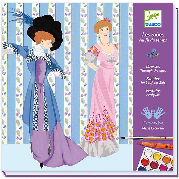 Купить Большой набор для рисования с красками История платья , DJECO, Франция, Женский