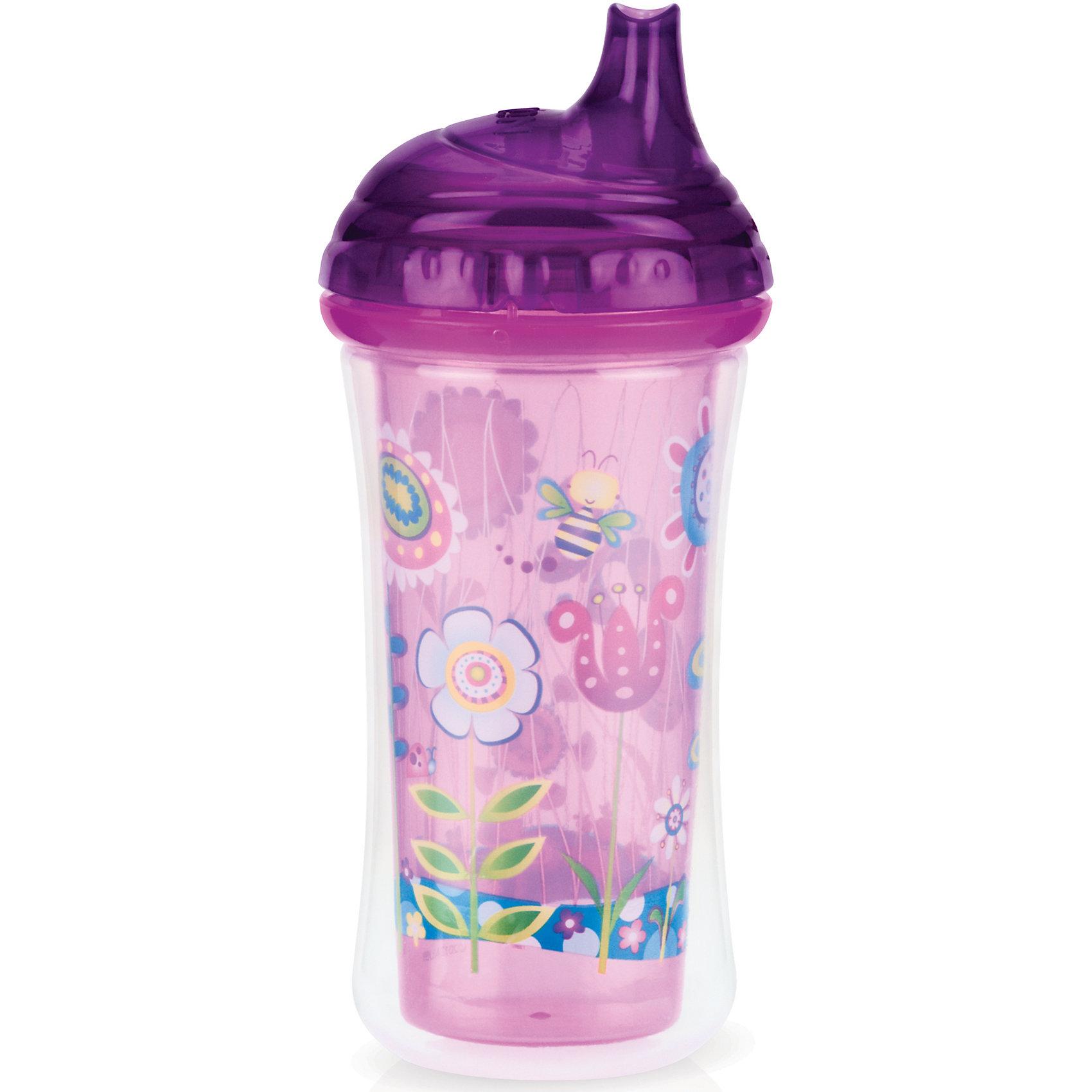 Поильник Цветы, 270мл, Nuby, фиолетовый