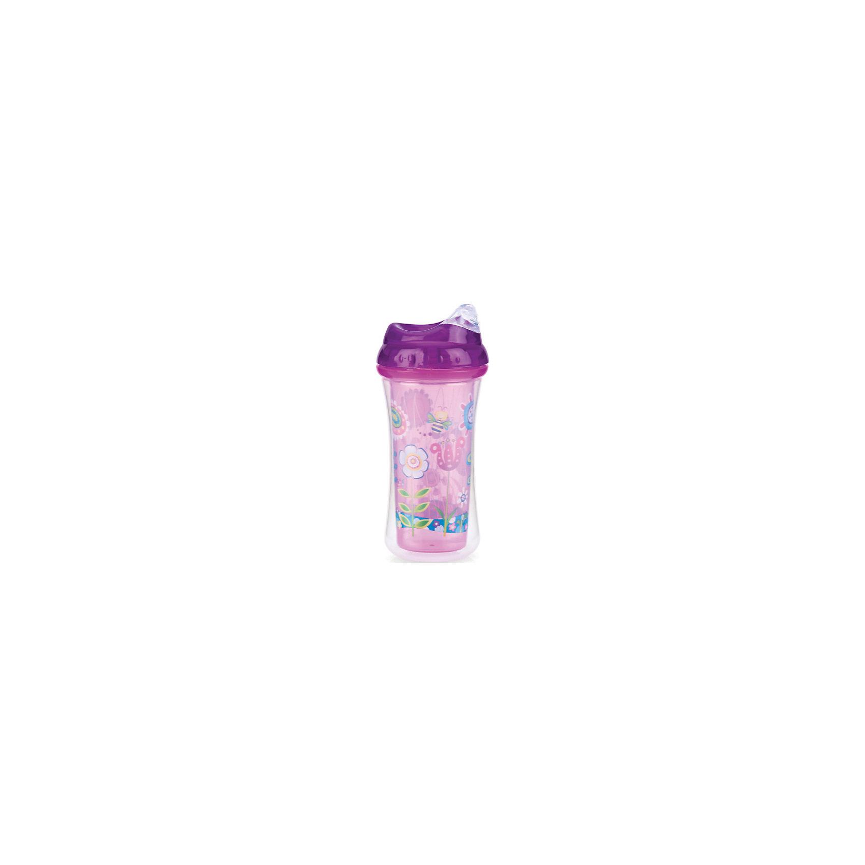 Поильник с силиконовым носиком-непроливайкой Цветы, Nuby, фиолетовый