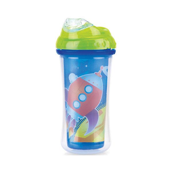 Nuby Поильник с силиконовым носиком-непроливайкой Ракета, Nuby, синий/зеленый цена