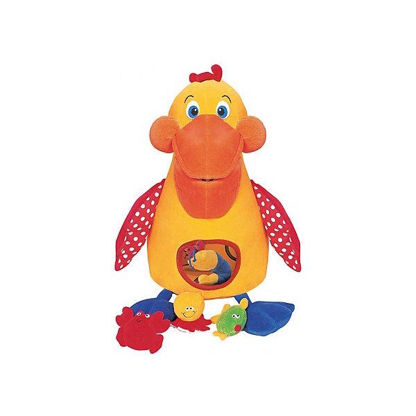 Голодный пеликан с игрушками, Ks KidsИгрушки для ванной<br>Игрушка «Голодный» пеликан K's Kids (Кс Кидс) –  многофункциональная игрушка, которую можно использовать для домашних игр, а также она будет очень удобна для развлечения малыша в дальней поездке.  Комплект состоит из птицы-пеликана и его любимой пищи: рыбки, осьминога, креветки и краба. Каждая деталь этого набора наделена своим звуковым эффектом. Так, рыбка шуршит, осьминог пищит, а краб и креветка гремят. Сам пеликан изготовлен из мягкого текстильного материала с крыльями из шуршащего материала. У птицы большой мягкий клюв, через который он поглощает любимые лакомства. В щечках расположены пищалки, в лапках ? погремушки. В животе имеется отверстие, через которое можно без труда достать «съеденных» морских обитателей. <br>«Голодный» пеликан K's Kids (Кс Кидс) –  это развлечение с обучением. Ваш ребенок в легкой игровой форме познакомится с морскими обитателями и особенностями их жизни. Данная игрушка может использоваться в качестве подвески на детскую кроватку или стульчик для кормления.<br>Птица подарит вашему малышу богатство тактильных ощущений, научит координации движений и будет способствовать развитию цветовосприятия.<br><br>Дополнительная информация:<br><br>- Вид игр: подвижные, развивающие<br>- Предназначение: для дома, для поездки <br>- Дополнительные эффекты: звуковые ? шуршалки, пищалки, погремушки<br>- Материал: гипоаллергенный текстиль с различными фактурами<br>- Размер игрушки: пеликан ? 19*11*50 см; 4 морских обитателя: краб ?  3*11*7 см, осьминог ? 7*7*6 см, рыбка ? 3*10*9 см, креветка ? 4*8*7 см. <br>- Вес: 500 гр.<br>- Особенности ухода за игрушкой: разрешена деликатная стирка <br><br>Подробнее:<br><br>• Для детей в возрасте: от 0 месяцев до 1 года<br>• Страна производитель: Китай<br>• Торговый бренд: Ks Kids (Кс Кидс)<br><br>Игрушку «Голодный» пеликан, Ks Kids (Кс Кидс) можно купить в нашем интернет-магазине.<br>Ширина мм: 350; Глубина мм: 130; Высота мм: 360; Вес г: 880; Возраст от месяце