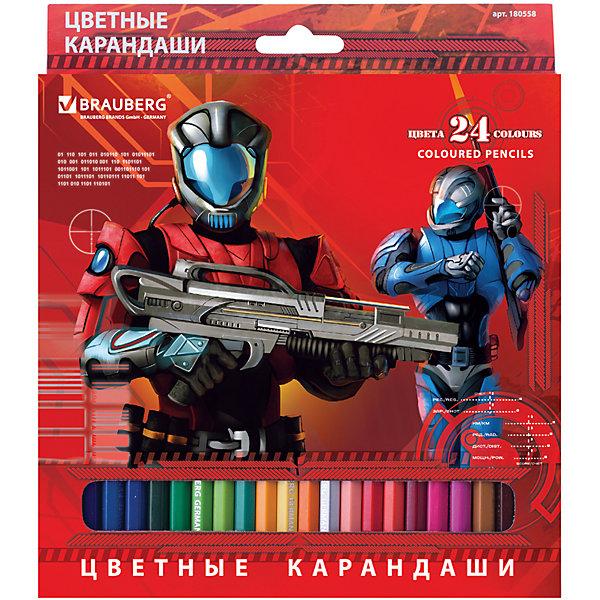 Цветные карандаши Star Patrol, 24 цв., BraubergЦветные<br>В наборе 24 карандаша, изготовленных из древесины ценных пород. Благодаря высококачественному грифелю, рисунок ляжет на бумагу густо, сплошной четкой линией. Приключения солдата будущего, изображенные на коробке, не оставят равнодушными юных художников.<br>Такие яркие карандаши непременно понравятся Вашему ребенку!<br><br>Дополнительная информация: <br><br>- 24 цвета.<br>- Диаметр грифеля - 3 мм.<br>- Высокосортная древесина.<br>- Шестигранный корпус.<br>- Легко затачиваются.<br>- Размер упаковки: 20х18х0,7 см. <br>- Вес в упаковке: 171 г.<br><br>Цветные карандаши Star Patrol Brauberg можно купить в нашем магазине.<br>Ширина мм: 200; Глубина мм: 180; Высота мм: 7; Вес г: 171; Возраст от месяцев: 72; Возраст до месяцев: 2147483647; Пол: Унисекс; Возраст: Детский; SKU: 4792669;