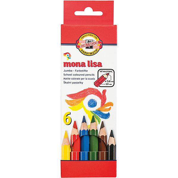 KOH-I-NOOR Цветные карандаши Mona Lisa, 6 цв., KOH-I-NOOR карандаши восковые мелки пастель koh i noor мелки масляные 6 цветов