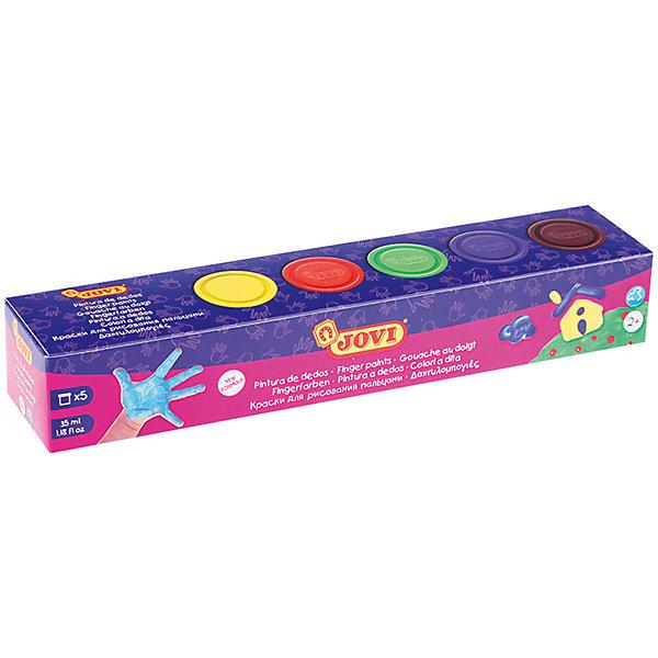 Краски пальчиковые 5 цветов 175г JOVIПальчиковые краски<br>Характеристики:<br><br>• ёмкость банки:35мл.;<br>• количество: 5шт.; <br>• упаковка: пластик;<br>• размер упаковки: 25х5х4см.;<br>• вес упаковки: 297г.;<br>• для детей в возрасте: от 2лет.;<br>• страна производитель: Испания.<br><br>Набор пальчиковых красок бренда Jovi (Джови) станет отличным приобретением для малышей. Он создан из качественных, экологически чистых материалов, что очень важно для детских товаров.<br><br> Набор отлично подойдёт для детишек, любящих рисовать своими руками, без применения кисточек. В него входят пять разноцветных баночек с красками. Цвета очень яркие и насыщенные. Пользоваться ими удобно будет самым маленьким детям, краски легко отмываются водой и изготовлены из пищевых красителей. Без лишних усилий создают плотный яркий слой на любой поверхности. Упаковкой служит коробка с красивым рисунком.<br><br>Использование набора поможет детям развивать цветовое восприятие, мелкую моторику, чувство самовыражения, фантазию и аккуратность.<br> <br>Краски пальчиковые можно купить в нашем интернет-магазине.<br>Ширина мм: 250; Глубина мм: 50; Высота мм: 40; Вес г: 297; Возраст от месяцев: 72; Возраст до месяцев: 2147483647; Пол: Унисекс; Возраст: Детский; SKU: 4792687;