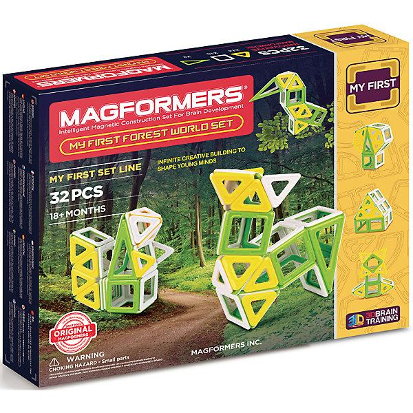 Магнитный конструктор My First Forest, MAGFORMERSМагнитные конструкторы<br>Характеристики:<br><br>• возраст: от 3 лет;<br>• материал: пластмасса, металл;<br>• в наборе: 32 детали: 14 треугольников, 2 равнобедренных треугольника, 16 квадратов;<br>• вес упаковки: 500 гр.;<br>• размер упаковки: 28х24х5 см.<br><br>Оригинальный магнитный конструктор My First Forest Magformers состоит из квадратов и треугольников трех цветов, сделанных из прочного непрозрачного пластика. Уникальность игры заключается в особом строении деталей с магнитами, из которых можно собирать неограниченное количество разных конструкций.<br><br>Как только детали соприкасаются, магниты внутри поворачиваются нужным полюсом друг к другу, надежно скрепляясь между собой. Сборка происходит легко и быстро. Детали сами становятся на нужное место, при этом без труда разбираются для новых игр.<br><br>Ребенок сможет собрать фигуры разных лесных животных, а поможет в этом книга идей. Кроме того, можно придумать свои фигуры – ограничивает только фантазия.<br><br>Все части конструктора соединяются с любыми другими наборами Magformers, что делает игру еще разнообразней и увлекательней. <br><br>Занятия с магнитным конструктором развивают творческие способности, пространственное мышление и мелкую моторику, а также знакомят с геометрическими фигурами и цветами. Конструктор выполнен из сертифицированных безопасных материалов.<br><br>Магнитный конструктор My First Forest, Magformers можно купить в нашем интернет-магазине.<br>Ширина мм: 240; Глубина мм: 280; Высота мм: 50; Вес г: 650; Возраст от месяцев: 24; Возраст до месяцев: 48; Пол: Унисекс; Возраст: Детский; SKU: 4794832;