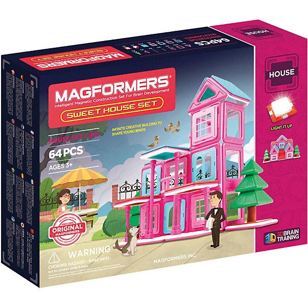 Магнитный конструктор Sweet House, MAGFORMERSМагнитные конструкторы<br>Характеристики:<br><br>• возраст: от 3 лет;<br>• материал: пластмасса, металл;<br>• в наборе: 64 детали, светодиодная панель;<br>• вес упаковки: 1,22 кг.;<br>• размер упаковки: 41х29х8 см;<br>• страна производитель: Китай.<br><br>Оригинальный магнитный конструктор Sweet House входит в линейку строительных наборов Magformers. Уникальность игры заключается в особом строении деталей с магнитами, из которых можно собирать неограниченное количество разных сооружений.<br><br>Как только детали соприкасаются, магниты внутри поворачиваются нужным полюсом друг к другу, надежно скрепляясь между собой. Сборка происходит легко и быстро. Детали сами становятся на нужное место, при этом без труда разбираются для новых игр.<br><br>Конструктор включает красочные строительные элементы: крыши, окна, блоки стен, колонны и другие. Также предусмотрена книга идей для сборки 10 зданий – от загородного дома до железнодорожной станции. Светодиодная панель позволит красиво подсветить готовую модель. Кроме того, ребенок сам сможет придумать новые идеи для строительства.<br><br>Все части конструктора соединяются с любыми другими наборами Magformers, что делает игру еще разнообразней и увлекательней. <br><br>Занятия с магнитным конструктором развивают творческие способности, пространственное мышление и мелкую моторику, а также знакомят с геометрическими фигурами и цветами. Конструктор выполнен из сертифицированных безопасных материалов.<br><br>Магнитный конструктор Sweet House, Magformers можно купить в нашем интернет-магазине.<br>Ширина мм: 280; Глубина мм: 380; Высота мм: 80; Вес г: 1383; Возраст от месяцев: 36; Возраст до месяцев: 84; Пол: Унисекс; Возраст: Детский; SKU: 4794835;
