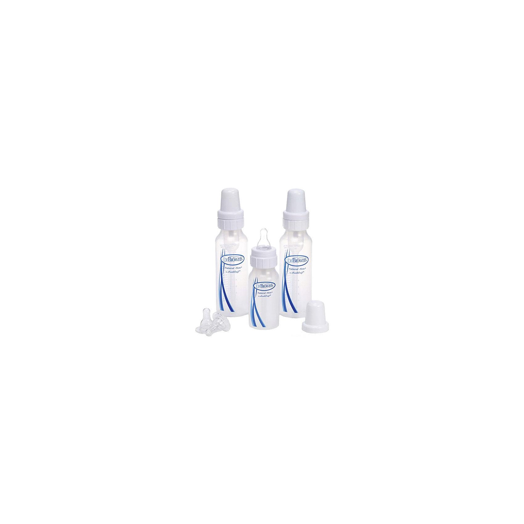 Набор стандартных бутылочек 120 мл и 2*240 мл +2 соски (уров 2), полипропилен (Dr.Browns)