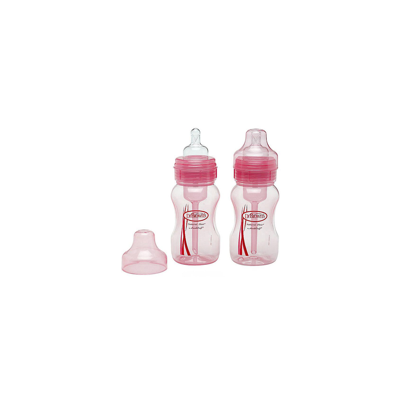 Dr.Browns Набор из 2-х бутылочек с широким горлышком 240 мл, полипропилен, Dr. Brown, розовый