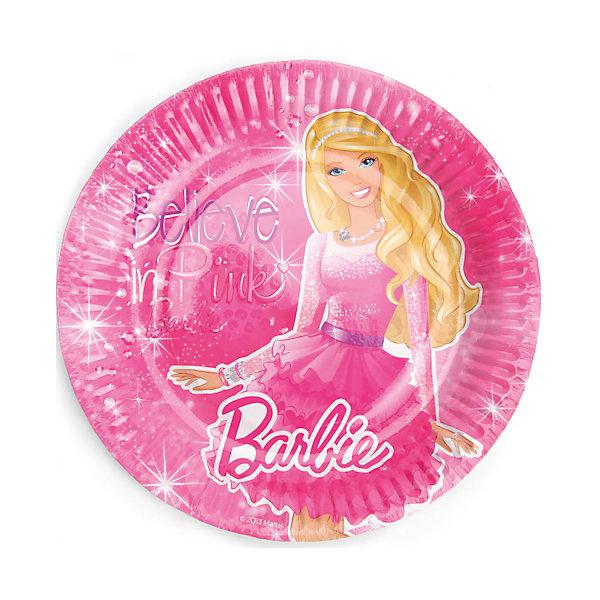 Набор из 6-и тарелок, BarbieBarbie<br>Нарядные и красивые тарелочки с Барби  одетой в пышную яркую юбку для вечеринок украсят своим изображением праздник. После использования тарелки можно просто выбросить в мусорное ведро или в костер. Они сделаны из бумаги и являются экологически чистым материалом.<br><br>Дополнительная информация:<br><br>- Материал: плотный картон.<br>- Комплект: 6 шт.<br>- Диаметр: 18 см.<br>- Размер упаковки: 20х26х2 см.<br>- Вес в упаковке: 70 г.<br><br>Купить набор из 6-и тарелок, Barbie,  можно в нашем магазине.<br>Ширина мм: 20; Глубина мм: 26; Высота мм: 2; Вес г: 70; Возраст от месяцев: 12; Возраст до месяцев: 2147483647; Пол: Женский; Возраст: Детский; SKU: 4797415;