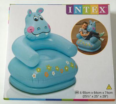 Детское надувное кресло  Веселые звери  Гиппопотам, Intex, артикул:4801501 - Надувная мебель