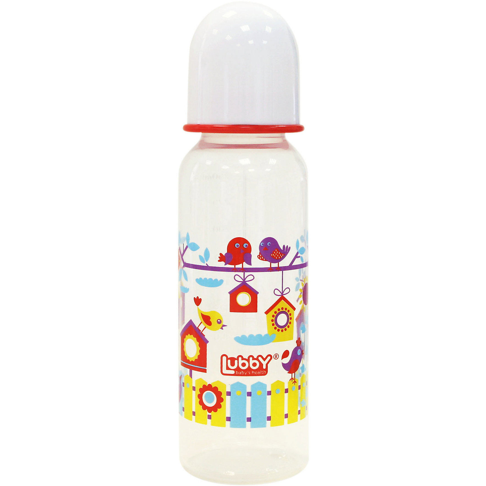 Бутылочка с соской Малыши и малышки от 0 мес., 250 мл., LUBBY, красный