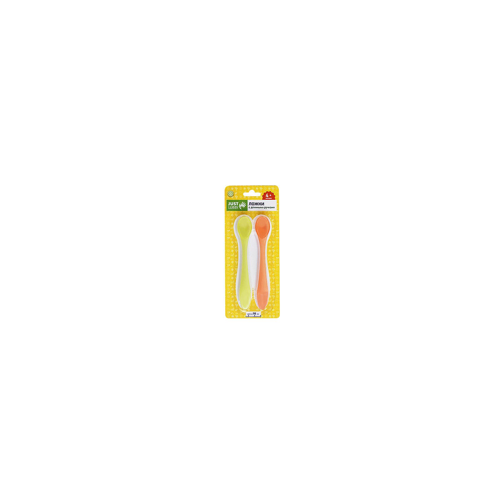 Ложки с длинными ручками JUST 2 шт. с 4 мес., LUBBY, оранжевый/зеленый