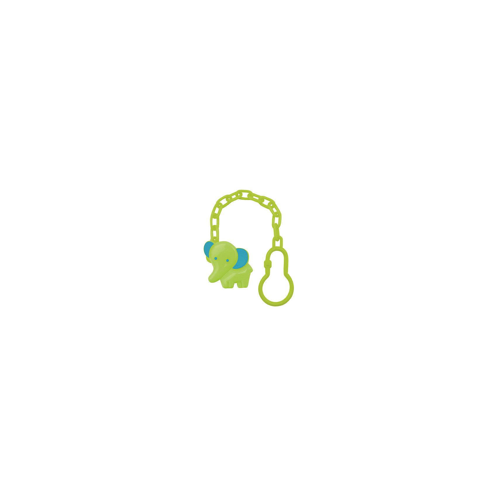 Клипса для соски-пустышки Слоник от 0 мес. полипропилен на цепочке, LUBBY, зеленый