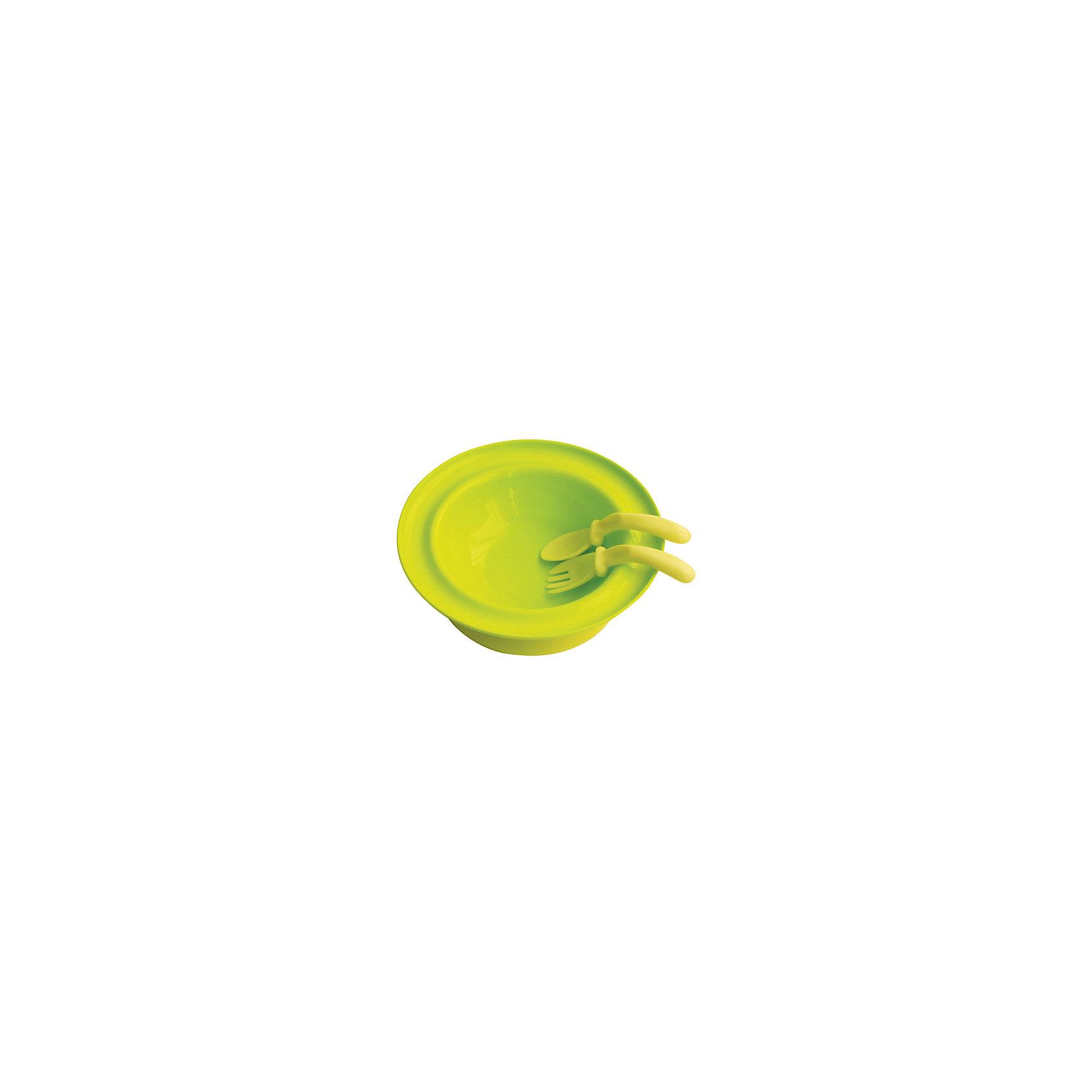 Тарелка 250 мл. с присоской с вилкой и ложкой от 6 мес., LUBBY, зеленый