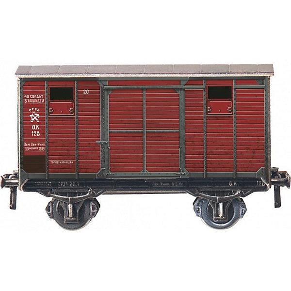 Умная Бумага Сборная модель Двухосный крытый вагон умная бумага сборная модель из картона путевая сторожка эпоха i м1 87 298