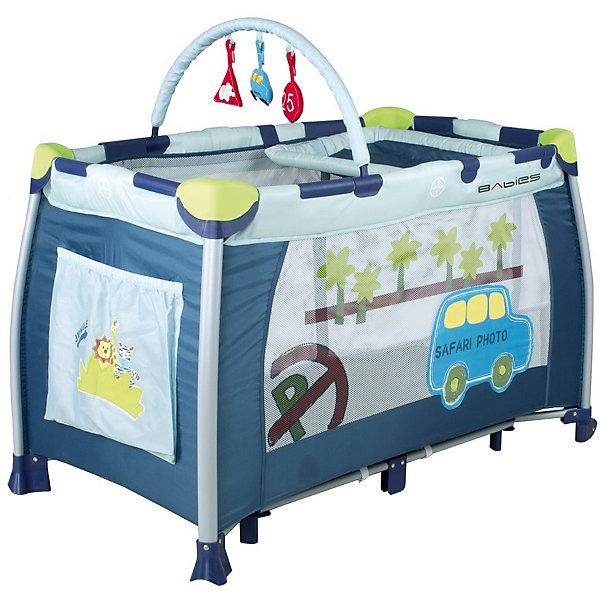 Манеж-кровать P-1 B, BabiesДетские манежи<br>Манеж-кровать P-1 B, Babies (Бэйбис) – это универсальная двухуровневая компактно складывающаяся модель.<br>Манеж-кровать P-1 B Babies (Бэйбис) - это незаменимый помощник для мобильных молодых семей, которые ведут активный образ жизни. Легкий, красивый манеж-кровать можно быстро сложить до компактных размеров. В собранном виде он помещается в багажник почти всех автомобилей. С такой кроваткой-манежем удобно путешествовать, ездить в гости и на дачу. Манеж-кровать Babies (Бэйбис) прекрасно подойдет для сна, игр, первых шагов и даже переодеваний! Без труда разложив манеж на новом месте, Вы можете прикрепить второй уровень и превратить его в полноценную кроватку с матрасиком. Выспавшись, кроха будет весело играть с подвесной дугой, и пытаться встать, ухватившись за специальные кольца, удобные для маленькой ручки. Вы сможете наблюдать за крохой, благодаря прозрачным боковинам. Переодеть малыша очень легко благодаря съемному пеленальному столику. Колеса со стопорами позволят перемещать манеж-кровать с легкостью, поэтому малыш везде может следовать за Вами. Для дополнительной устойчивости посередине имеются дополнительные ножки. Конструкция очень устойчивая, выполнена из прочных и безопасных материалов.<br><br>Дополнительная информация:<br><br>- В комплекте: манеж, кольца-держатели, съемный пеленальный столик, второй уровень-кроватка, съемная дуга с игрушками<br>- Превращается в полноценную кроватку с матрасиком<br>- Объемный карман для мелочей<br>- Предназначен для детей ростом до 90 см или весом до 14 кг.<br>- Очень удобный механизм складывания-раскладывания<br>- Жесткое дно необходимое для формирования правильной осанки<br>- Боковой лаз<br>- 2 колесика с фиксаторами<br>- Антибактериальная обивка легко чистится<br>- Отличный обзор<br>- Можно брать с собой на природу в удобной сумке-переноске<br>- В собранном виде очень компактный<br>- Цвет: синий, белый<br>- Материал каркаса: металл<br>- Материал стенок: ткань, сетка<br>- Разме