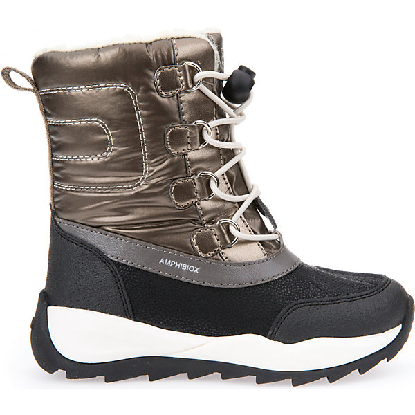 Сноубутсы для девочки GeoxСапоги<br>Полусапожки для девочки GEOX (ГЕОКС)<br>Полусапожки для девочки от GEOX (ГЕОКС) идеально подходят для холодной погоды. Они выполнены из сочетания искусственной кожи и текстиля, имеют подкладку из искусственного меха, текстильную стельку. Тип застежки: шнуровка. Влага не застаивается в обуви, благодаря чему создается идеальный микроклимат, который держит ноги теплыми и сухими, и позволяет им дышать естественно. Колодка соответствует анатомическим особенностям строения детской стопы. Качественная амортизация снижает нагрузку на суставы. Запатентованная гибкая перфорированная подошва со специальной микропористой мембраной обеспечивает естественное дыхание обуви, не пропускает воду, не скользит. Модель имеет усиленный мыс и пятку. <br><br>Дополнительная информация:<br><br>- Сезон: зима<br>- Цвет: золотистый, черный<br>- Материал верха: искусственная кожа, текстиль<br>- Внутренний материал: искусственный мех<br>- Материал стельки: текстиль<br>- Материал подошвы: резина<br>- Тип застежки: шнуровка<br>- Высота голенища/задника: 14 см.<br>- Детали обуви: контрастная отстрочка<br>- Высота платформы: 1 см.<br>- Высота подошвы: 3 см.<br>- Технология Amphibiox<br>- Материалы и продукция прошли специальную проверку T?V S?D, на отсутствие веществ, опасных для здоровья покупателей<br><br>Полусапожки для девочки GEOX (ГЕОКС) можно купить в нашем интернет-магазине.<br>Ширина мм: 257; Глубина мм: 180; Высота мм: 130; Вес г: 420; Цвет: золотой; Возраст от месяцев: 60; Возраст до месяцев: 72; Пол: Женский; Возраст: Детский; Размер: 29,27,30,31,32,29,33,28,30,32,34,33,31,27,37,36,35,28,26; SKU: 4812476;