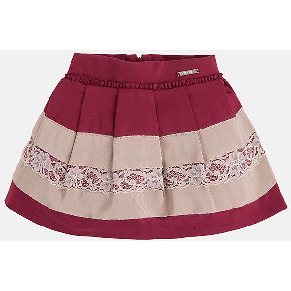 Юбка для девочки MayoralОдежда<br>Юбка для девочка от известного испанского бренда Mayoral(Майорал). Модель изготовлена из качественных материалов, приятных на ощупь. Юбка застегивается на молнию, украшена оборками, нежными кружевами. Контрастный дизайн юбки отлично смотрится на юной моднице!<br>Дополнительная информация:<br>-сзади застегивается на молнию<br>-украшена кружевами и оборками<br>-цвет: красный/бежевый<br>-состав: 71% вискоза, 26% полиамид, 3% эластан; подкладка: 80% полиэстер, 20% хлопок<br>Юбку Mayoral(Майорал) можно приобрести в нашем интернет-магазине.<br>Ширина мм: 207; Глубина мм: 10; Высота мм: 189; Вес г: 183; Цвет: красный; Возраст от месяцев: 24; Возраст до месяцев: 36; Пол: Женский; Возраст: Детский; Размер: 98,116,104,122,128,134,110; SKU: 4844231;