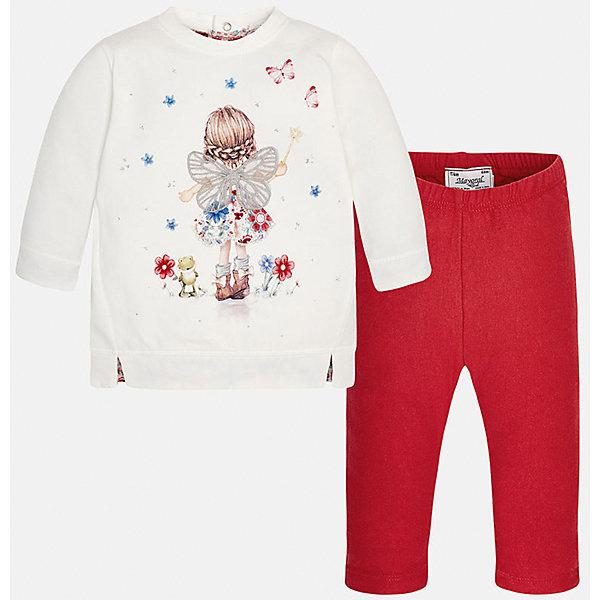 Комплект: футболка с длинным рукавом и леггинсы Mayoral для девочкиКомплекты для новорожденных<br>Комплект от Mayoral - стильный и практичный вариант для юных модниц! Футболка с длинным рукавом оформлена нежным принтом и аппликацией. Ярко-красные леггинсы на поясе с резинкой отлично смотрятся на фигуре, не вытягиваются, не сковывают движения.<br><br>Дополнительная информация:<br><br>- Комплектация: футболка с длинным рукавом, леггинсы. <br>- Футболка застегивается на кнопки на спине.<br>- Округлый вырез горловины.<br>- Манжеты на рукавах, резинка по низу. <br>- Нежный принт, аппликация.<br>- Леггинсы на эластичном поясе с резинкой.  <br>Состав: <br>- футболка - 57% хлопок, 38% полиэстер, 5% эластан; леггинсы - 75% хлопок, 20% полиэстер, 5% эластан. <br><br>Комплект: футболку и леггинсы для девочки Mayoral (Майорал), белый/красный, можно купить в нашем магазине.<br>Ширина мм: 123; Глубина мм: 10; Высота мм: 149; Вес г: 209; Цвет: красный; Возраст от месяцев: 6; Возраст до месяцев: 9; Пол: Женский; Возраст: Детский; Размер: 74,80,86,92; SKU: 4846179;