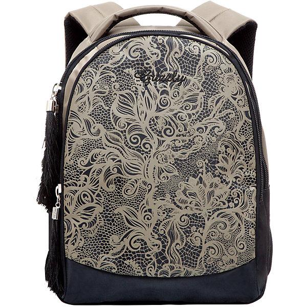 Рюкзак школьный Grizzly , бежевыйРюкзаки<br>Рюкзак, бежевый, Grizzly (Гризли) ? рюкзак отечественного бренда Гризли молодежной серии. Рюкзак выполнен из принтованного полиэстера в сочетании с нейлоном высокого качества, что обеспечивает легкий вес, но при этом надежность и прочность. Все швы выполнены капроновыми нитками, что делает швы особенно крепкими и устойчивыми к износу даже в течение нескольких лет. <br>Внутреннее устройство рюкзака состоит из двух отсеков, внутреннего кармана на молнии и составного пенала-органайзера для хранения канцелярских принадлежностей. Удобство и эргономичность рюкзака обеспечивается укрепленной спинкой и лямками, а также благодаря мягкой укрепленной ручке. Лямки регулируются под рост школьника. Уникальность рюкзаков Grizzly заключается в том, что анатомическая спинка изготовлена из специальной ткани, которая пропускает воздух, тем самым защищает спину от повышенного потоотделения. <br>Рюкзаки молодежной серии Grizzly (Гризли) ? это не только удобство и функциональность, это еще и оригинальный современный дизайн. Рюкзак, бежевый, Grizzly (Гризли) выполнен в классическом стиле: цветочный узор нежно-бежжевого цвета на черном фоне. <br>Рюкзак, бежевый, Grizzly (Гризли) ? это качество материалов, удобство и долговечность использования. <br><br>Дополнительная информация:<br><br>- Вес: 667 г<br>- Габариты (Д*Г*В): 27*17*35 см<br>- Цвет: черный, бежевый<br>- Материал: полиэстер, нейлон <br>- Сезон: круглый год<br>- Коллекция: молодежная <br>- Год коллекции: 2016 <br>- Пол: женский<br>- Предназначение: для школы, для занятий спортом<br>- Особенности ухода: можно чистить влажной щеткой или губкой, допускается ручная стирка<br><br>Подробнее:<br><br>• Для школьников в возрасте: от 8 лет и до 12 лет<br>• Страна производитель: Россия<br>• Торговый бренд: Grizzly<br><br>Рюкзак, бежевый, Grizzly (Гризли) можно купить в нашем интернет-магазине.<br>Ширина мм: 270; Глубина мм: 170; Высота мм: 350; Вес г: 667; Возраст от месяцев: 72; Возраст до месяцев