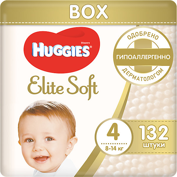 HUGGIES Подгузники Huggies Elite Soft 4, 8-14 кг, 132 шт.
