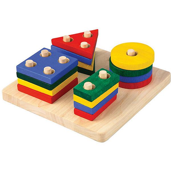 Plan Toys Сортер Доска с геометрическими фигурами, Plan Toys пирамидка трио plan toys