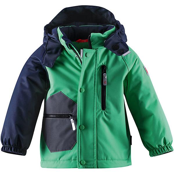 Куртка ReimaОдежда<br>Куртка Reima (Рейма), зеленый от известного финского производителя теплой детской одежды Reima. Выполнена из полиэстера высокого качества с полиуретановым покрытием. Материал обладает воздухопроницаемыми, грязе и водоотталкивающими свойствами. Состав ткани защищает от потери цвета и формы даже при длительном использовании. Куртка выполнена в классическом стиле: прямой силуэт и удлиненная спинка. Изделие имеет съемный капюшон, воротник-стойку, застежку-молнию с защитой у подбородка, манжеты рукавов на резинке. Куртка выполнена в комбинированом цвете: черные и зеленые детали и элементы. Сбоку куртки имеется прорезной карман на молнии и накладной карман. Все швы куртки проклеенные, что обеспечивает дополнительную защиту от холода и ветра. Изделие имеет среднюю степень утепления, куртку  можно носить до -20 градусов мороза.<br><br>Дополнительная информация:<br><br>- Предназначение: повседневная одежда, для прогулок<br>- Цвет: зеленый, черный<br>- Пол: для мальчика<br>- Состав: 100% полиэстер, полиуретановое покрытие<br>- Сезон: зима<br>- Особенности ухода: машинная стирка при температуре от 30 градусов, запрещается использовать отбеливающие средства<br><br>Подробнее:<br><br>• Для детей в возрасте: от 6 месяцев и до 9 месяцев<br>• Страна производитель: Китай<br>• Торговый бренд: Reima, Финляндия<br><br>Куртку Reima (Рейма), зеленый можно купить в нашем интернет-магазине.<br>Ширина мм: 356; Глубина мм: 10; Высота мм: 245; Вес г: 519; Возраст от месяцев: 6; Возраст до месяцев: 9; Пол: Унисекс; Возраст: Детский; Размер: 74; SKU: 4863906;